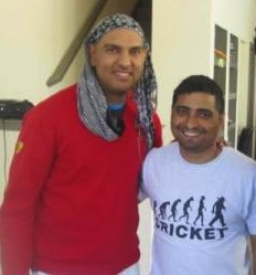 Nishant Arora with Yuvraj Singh, during Yuvraj's recovery from cancer